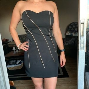 Black strapless dress with gold trim